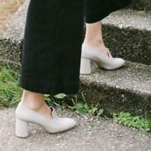Rachel Comey May Gray Leather Block Heel Pumps 7